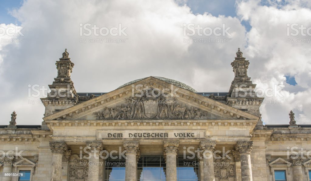 German parliament building detail (Reichstag) in Berlin, Germany stock photo