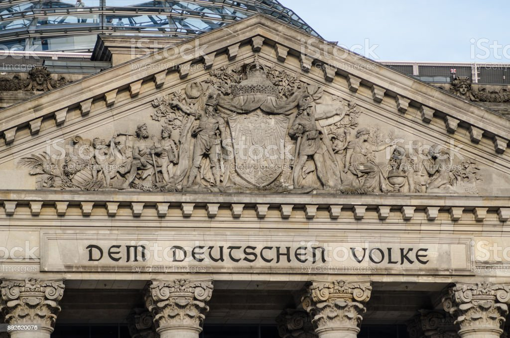 German parliament building (Reichstag) in Berlin, detail on the entrance. stock photo