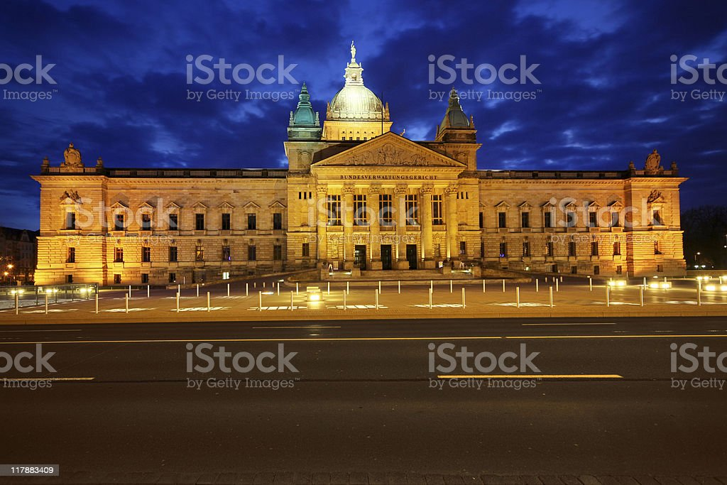 German parliamentary building at dusk stock photo