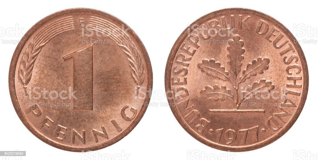 German pfennig coin stock photo