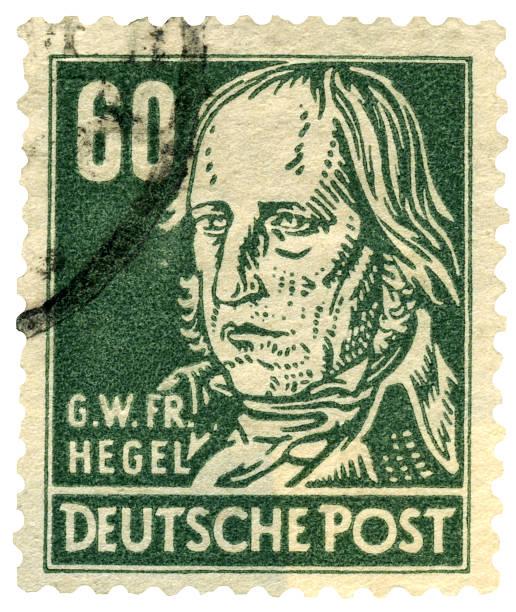 deutsche philosoph georg wilhelm friedrich hegel briefmarke - friedrich hegel stock-fotos und bilder