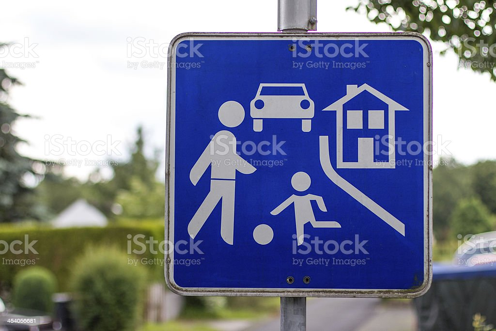 german play street sign stock photo