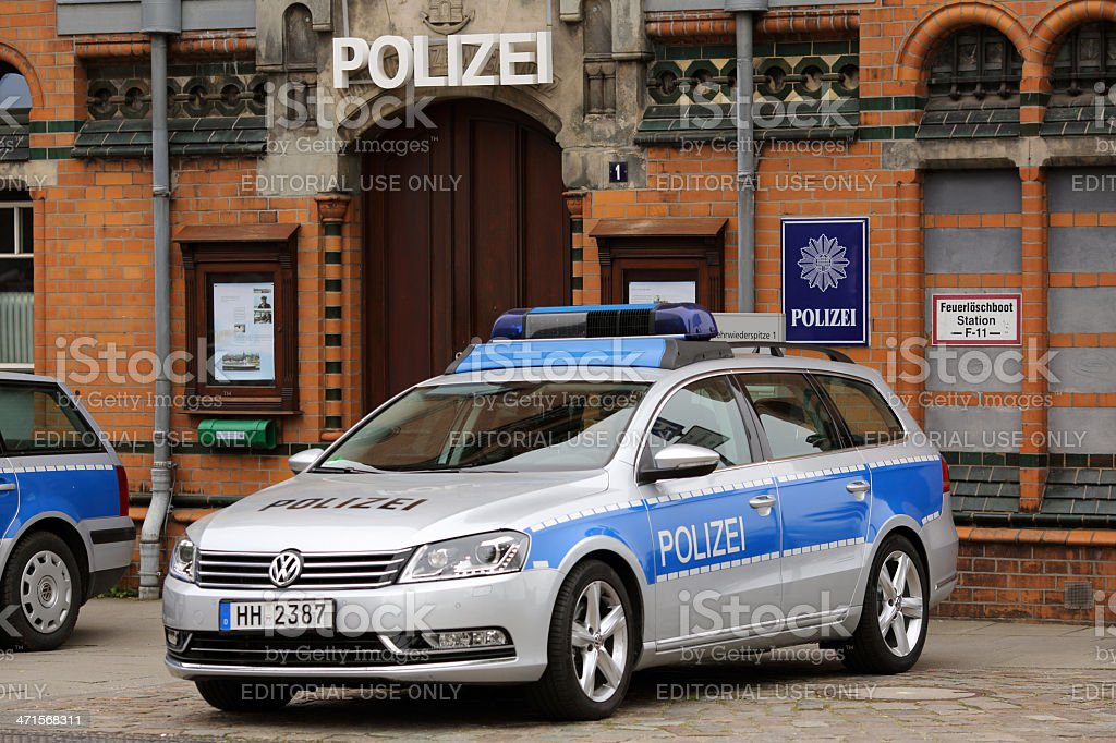 German police car in Hamburg Hafencity stock photo