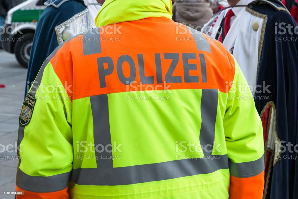 German police officer at public operation stock photo