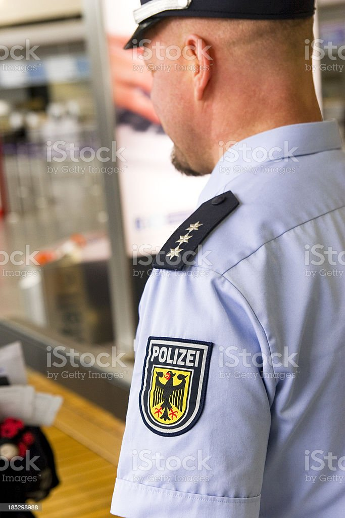 German Police Officer at Work stock photo