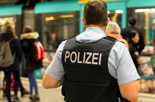 Frankfurt am Main, Germany - November 13 2018 : German Police officer in a subway station in Frankfurt am Main, Germany.