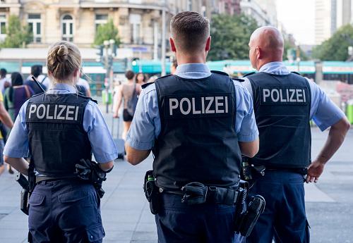 Frankfurt am Main, Germany - July 25 2019: German Police Officers near Central Railway Station in Frankfurt, Germany.