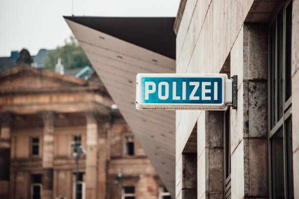 German police sign stock photo