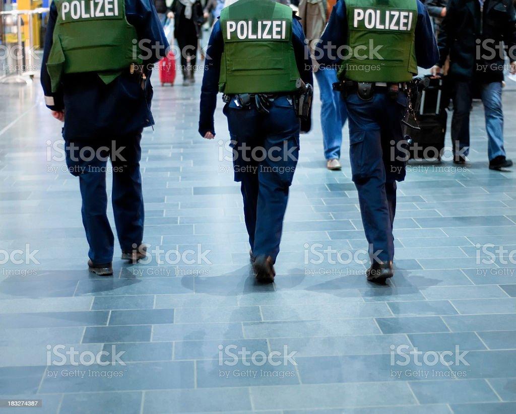 German policemen on anti-terror patrol stock photo