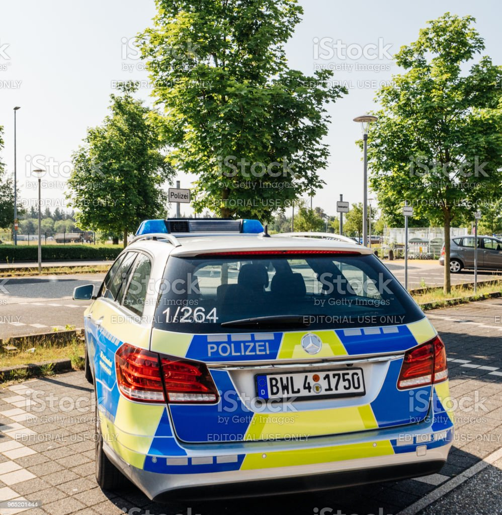 German Polizei Police Mercedes-Benz car parked at Airport zbiór zdjęć royalty-free