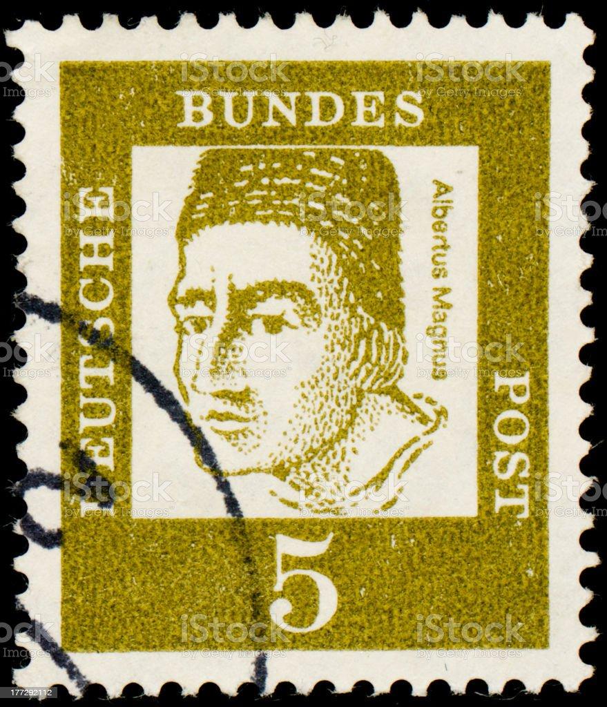 German postage stamp with a catholic saint Albertus Magnus stock photo