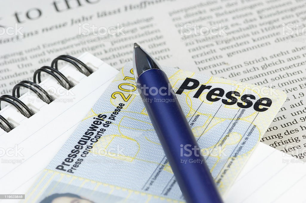 German press card with blue pen stock photo