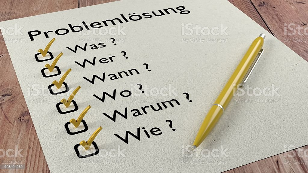 German problem solving checklist ballpen and tick marks stock photo