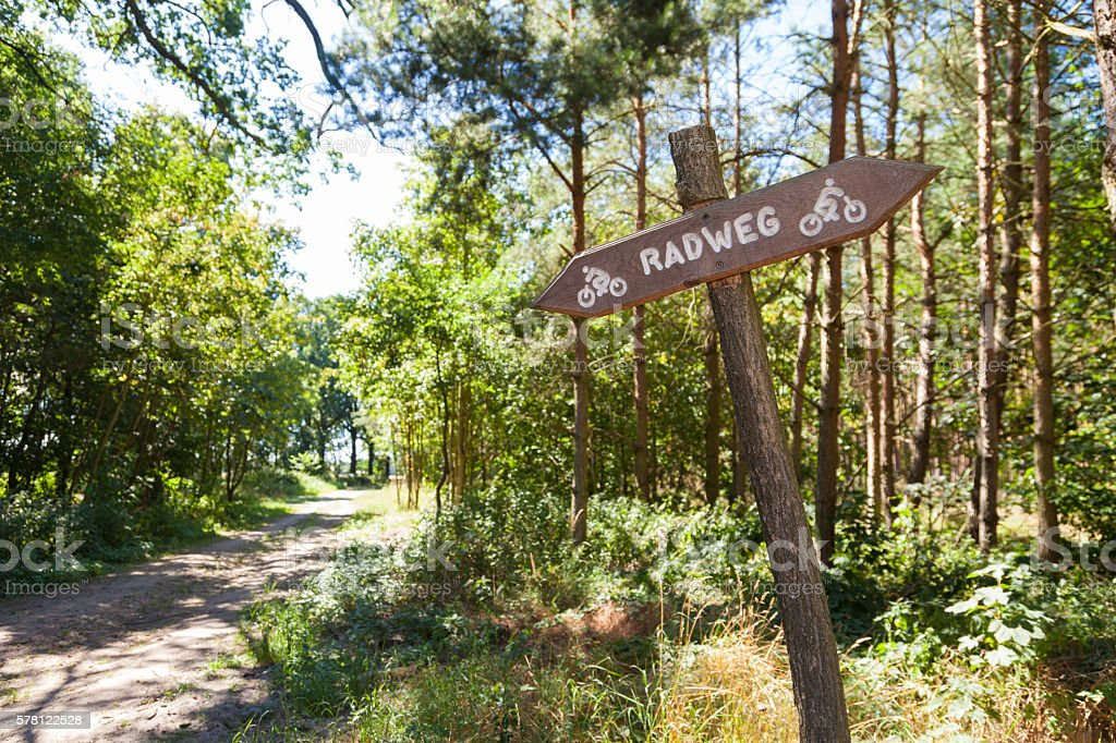 german Radweg, cycleway sign in a forest stock photo