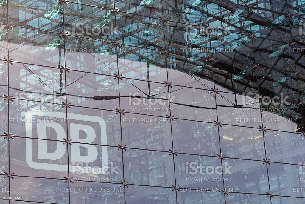 German railway logo 'DB' (Deutsche Bahn) glass facade stock photo