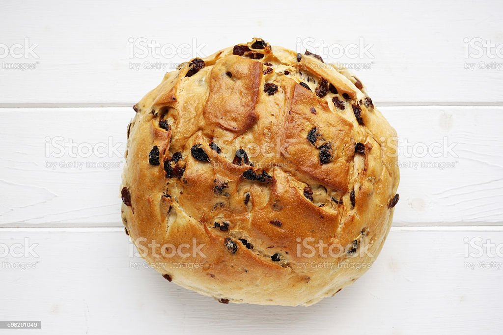 german raisin bread or currant loaf stock photo