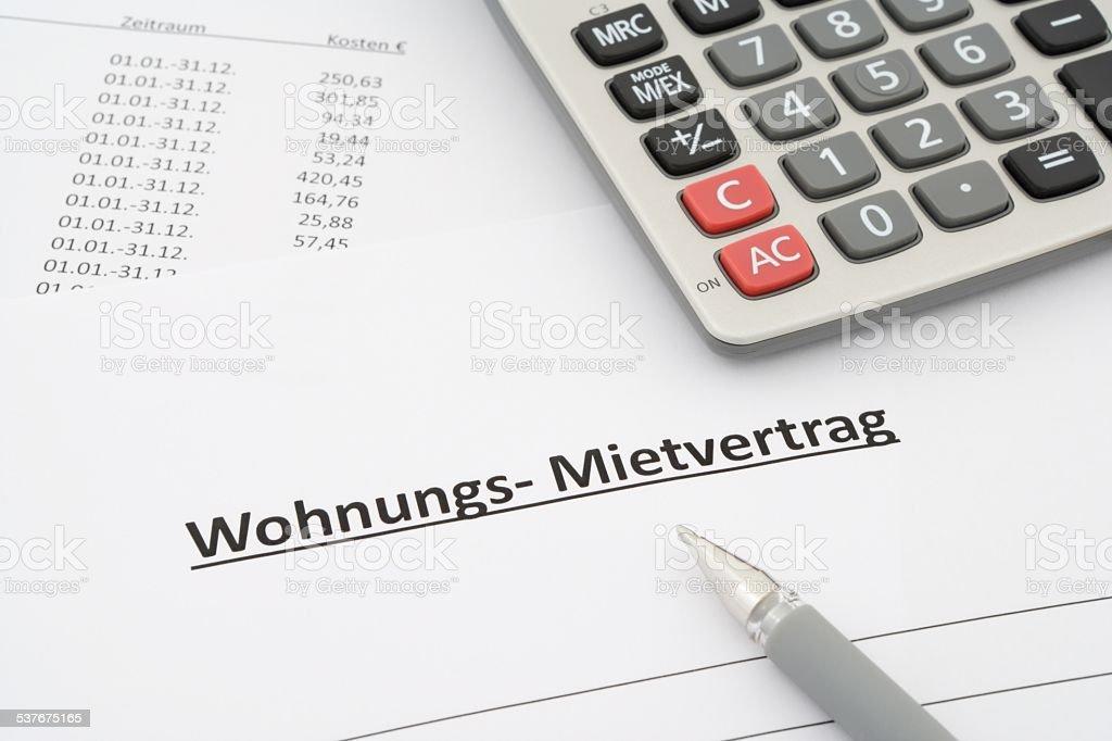german rental agreement stock photo