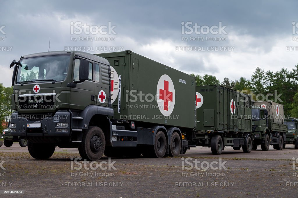 german rescue center system on trucks stands on plate stock photo
