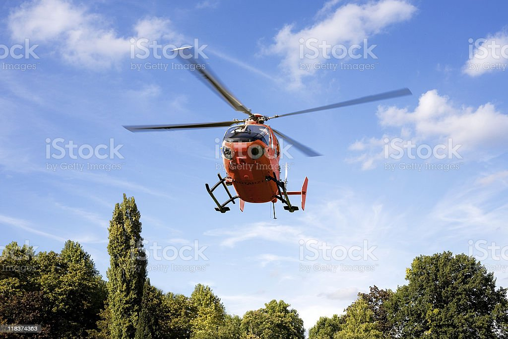 German rescue helicopter stock photo
