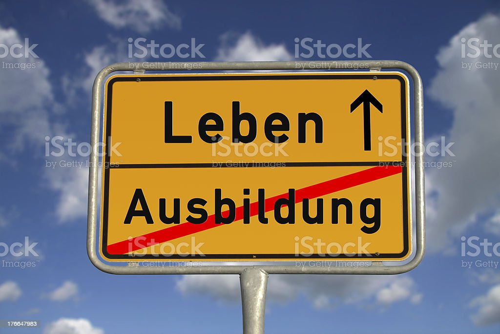 German road sign apprenticeship and life royalty-free stock photo