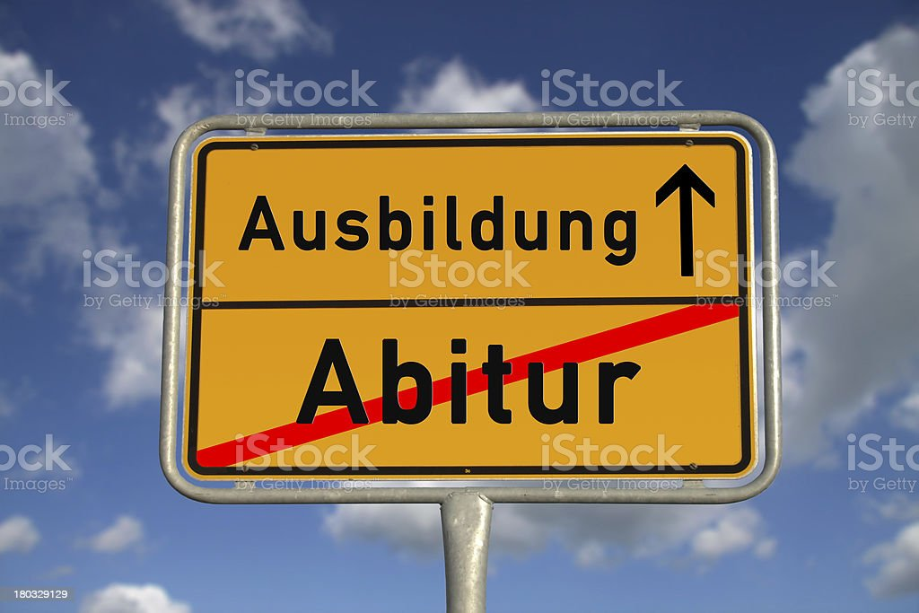 German road sign graduation and apprenticeship royalty-free stock photo