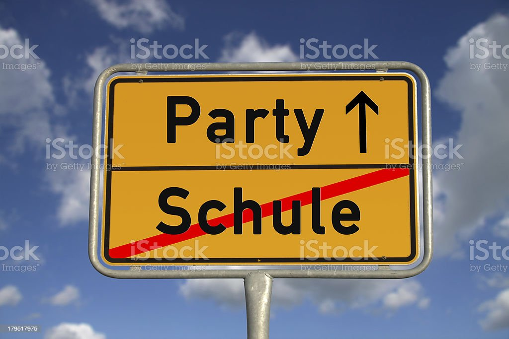 German road sign school and party royalty-free stock photo