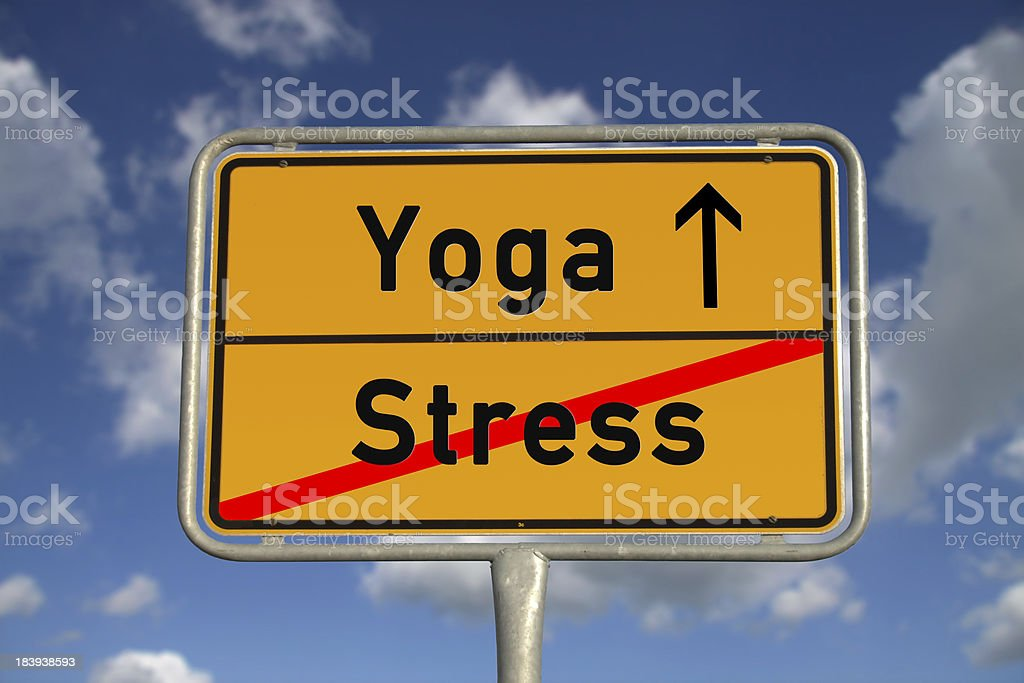 German road sign stress  and Yoga royalty-free stock photo