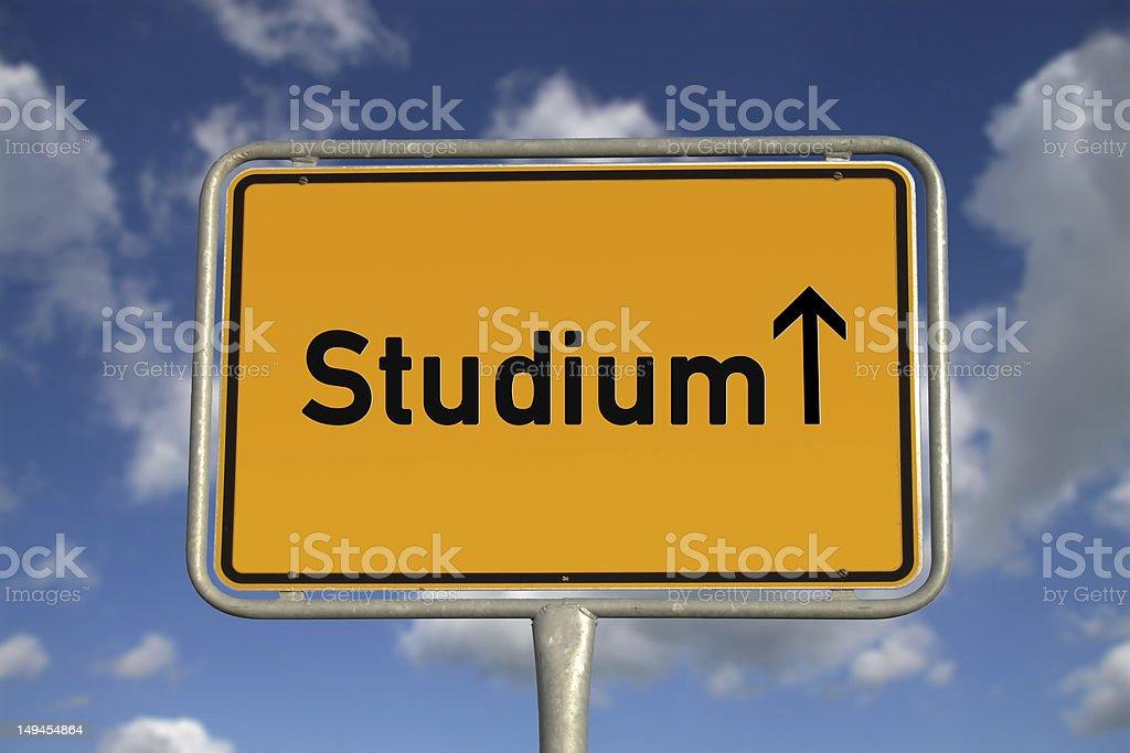 German road sign studies stock photo