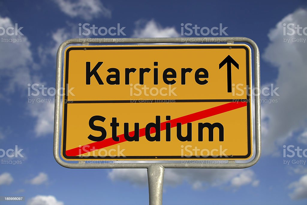 German road sign study and career stock photo