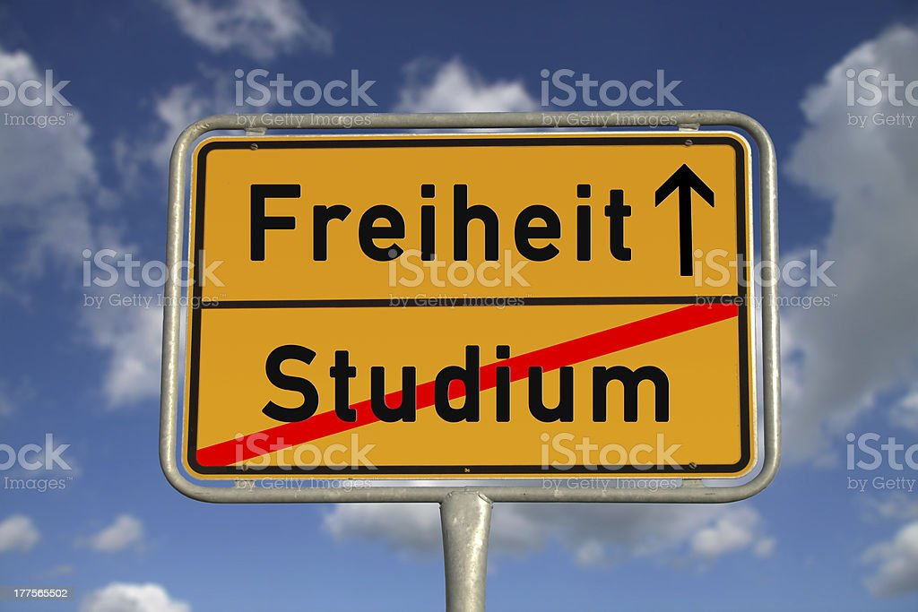 German road sign study and freedom stock photo