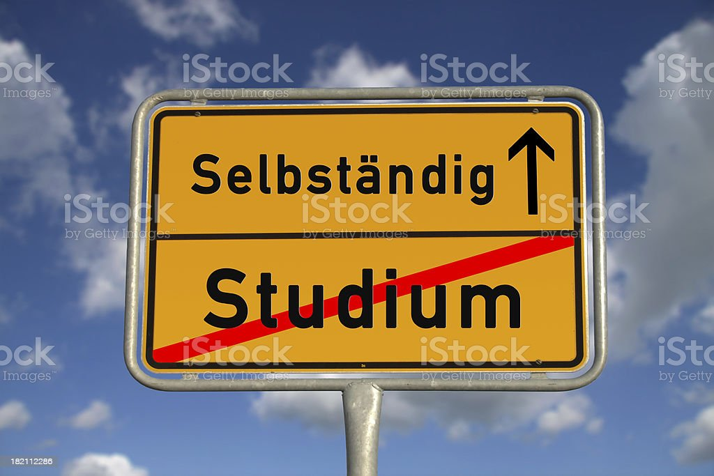 German road sign study and freelancer stock photo