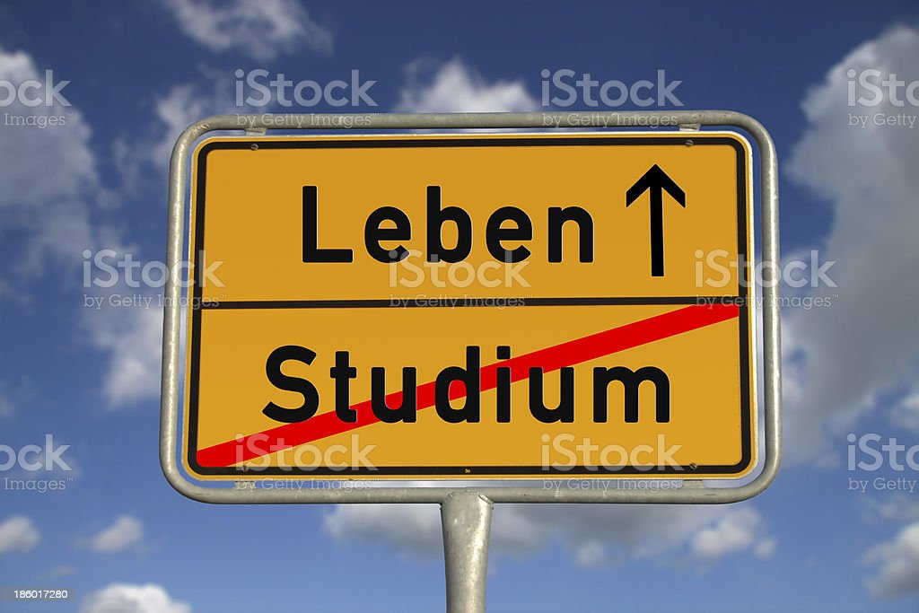 German road sign study and life stock photo