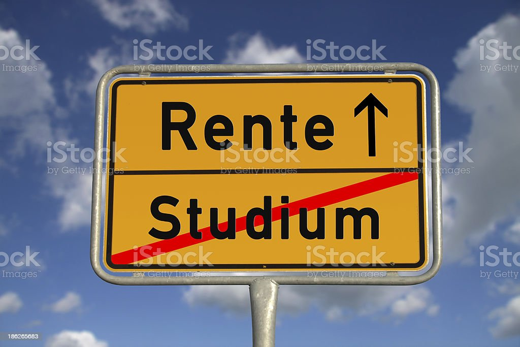 German road sign study and retirement stock photo