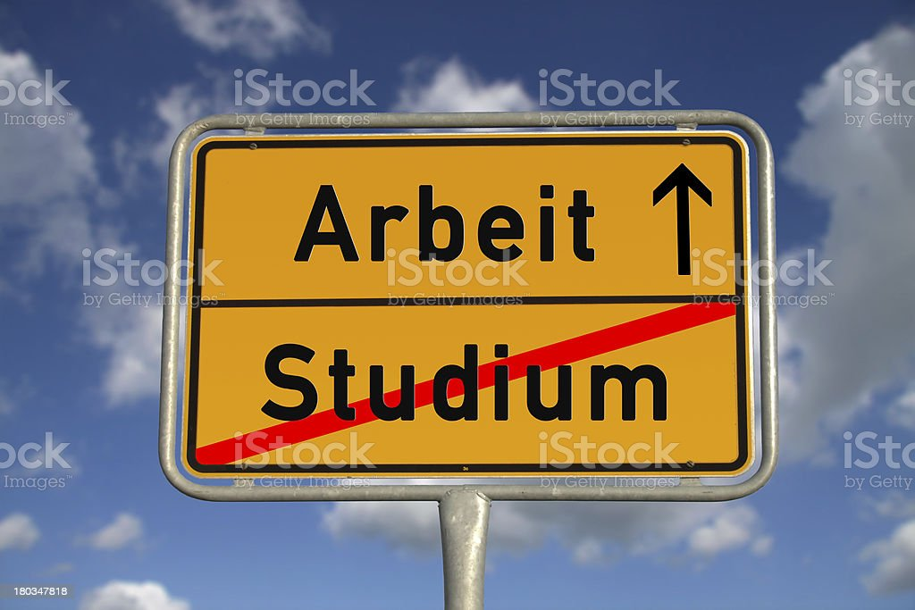 German road sign study and work stock photo