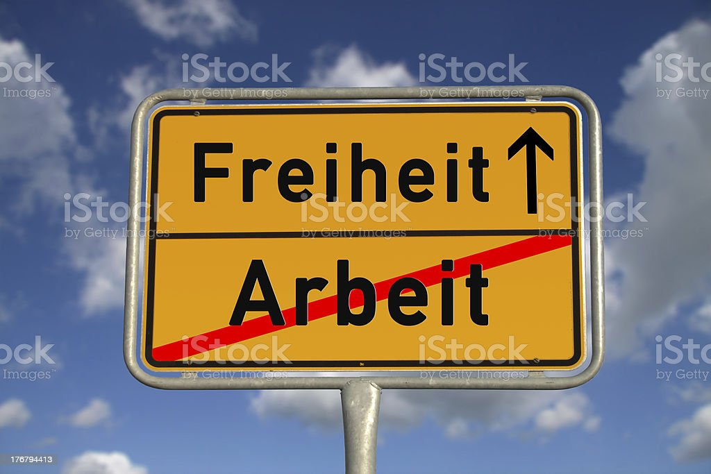 German road sign work and freedom royalty-free stock photo