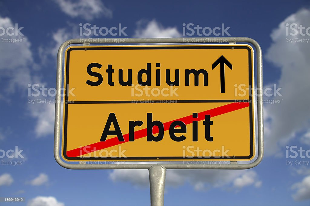 German road sign work and study stock photo
