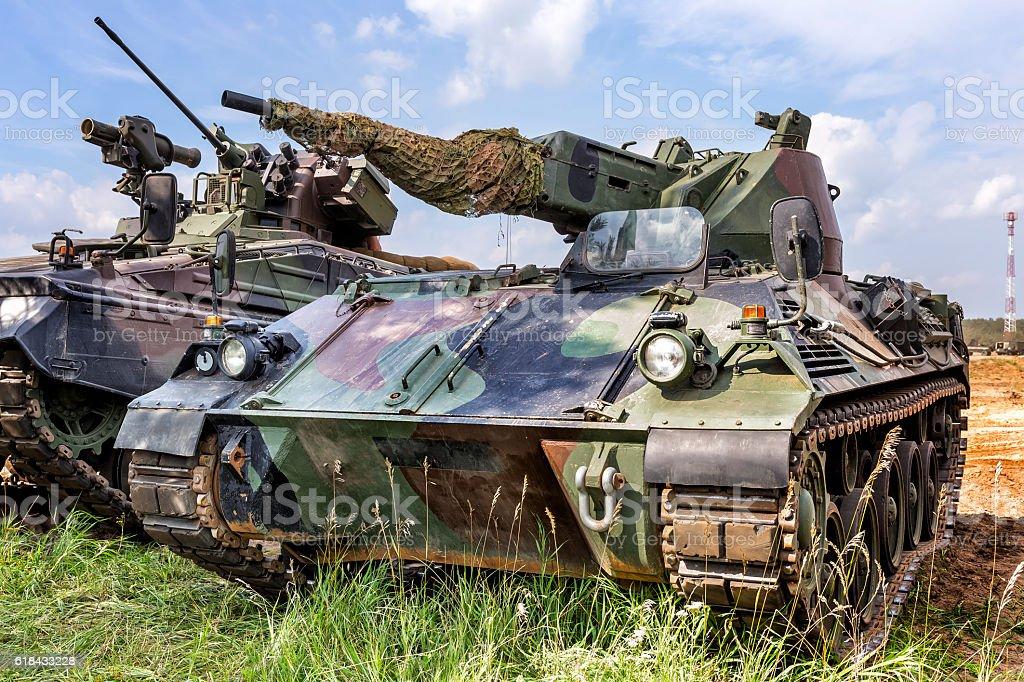 German self-propelled anti-aircraft gun stock photo