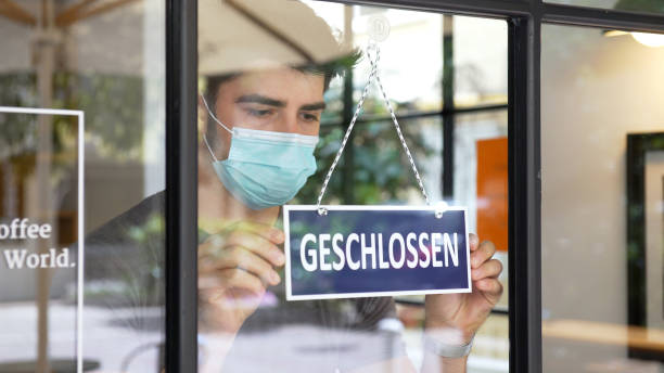 German small business closing during COVID-19 pandemic stock photo