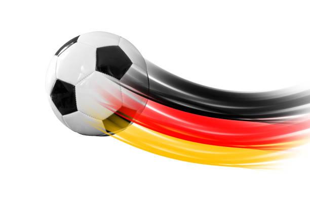 ballon de football allemand - drapeau allemand photos et images de collection
