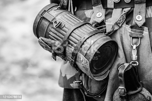 Gas container container German Wehrmacht soldier during the Second World War. Outfit in black and white shot