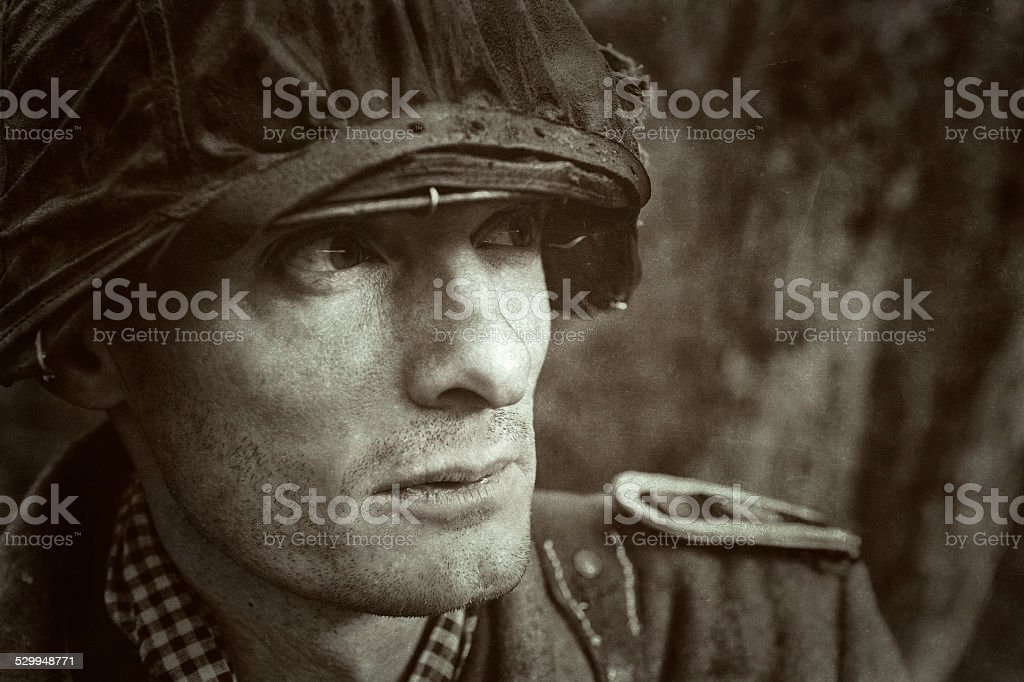 German Soldier - WWII - Portrait - Battle Ready stock photo