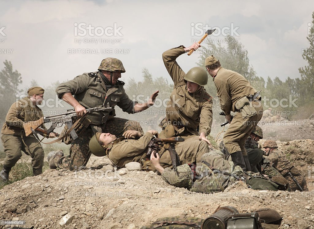 German Soldiers Fighting With Red Army Stock Photo - Download Image