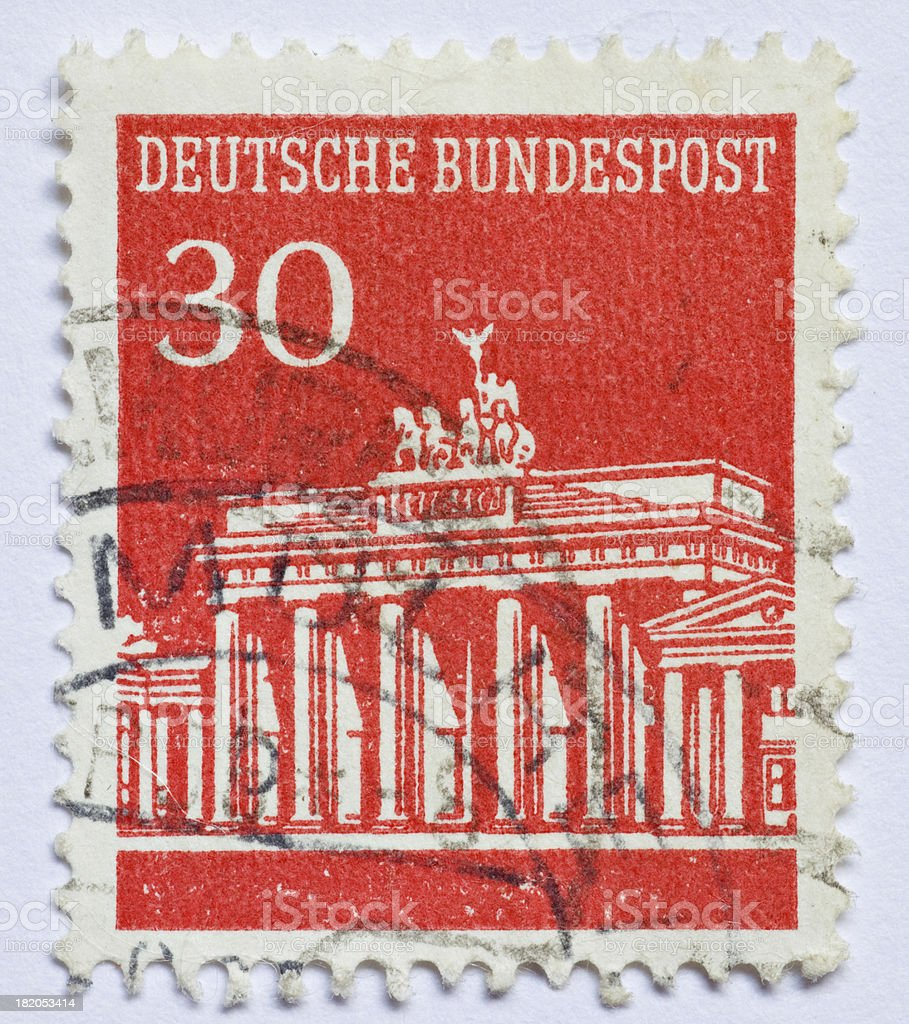 German Stamp Brandenburg Gate stock photo