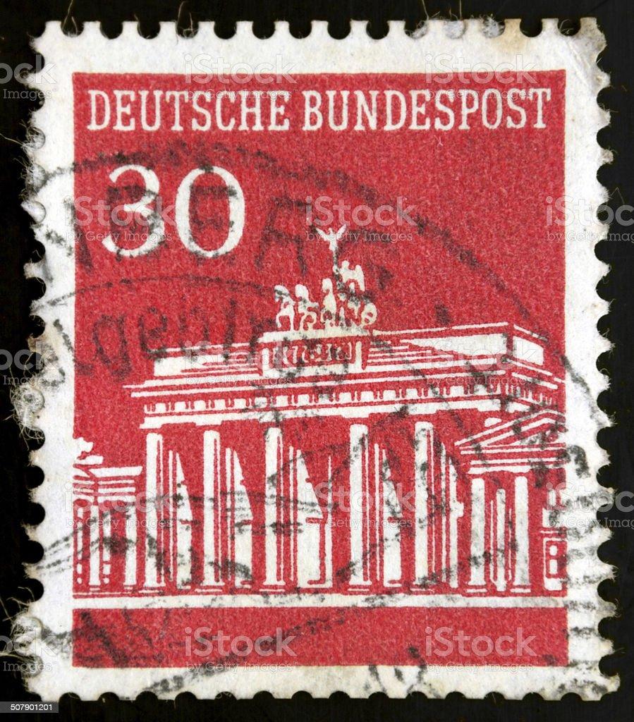 German stamp, Briefmarke Deutsche Bundespost Brandenburger Tor 3 stock photo