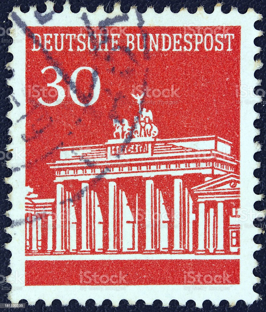 German stamp shows Brandenburg Gate, Berlin (1966) stock photo