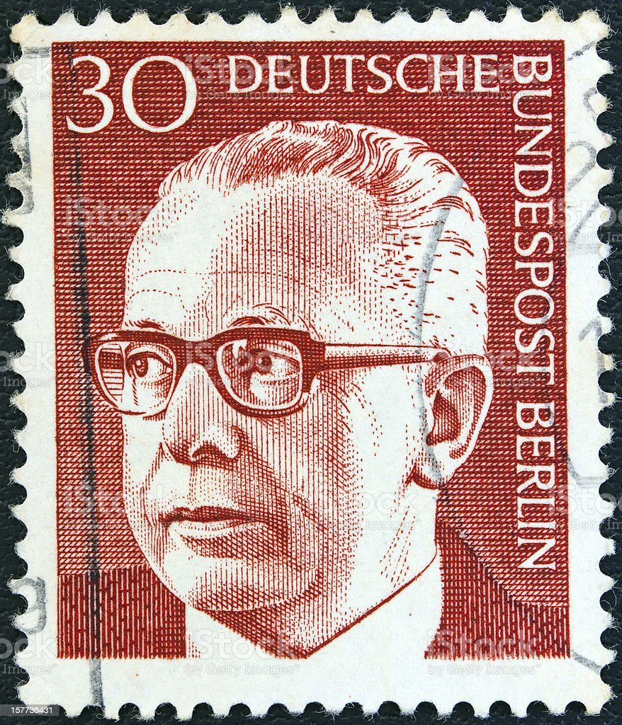 German stamp shows Federal President Gustav Heinemann (1971) stock photo