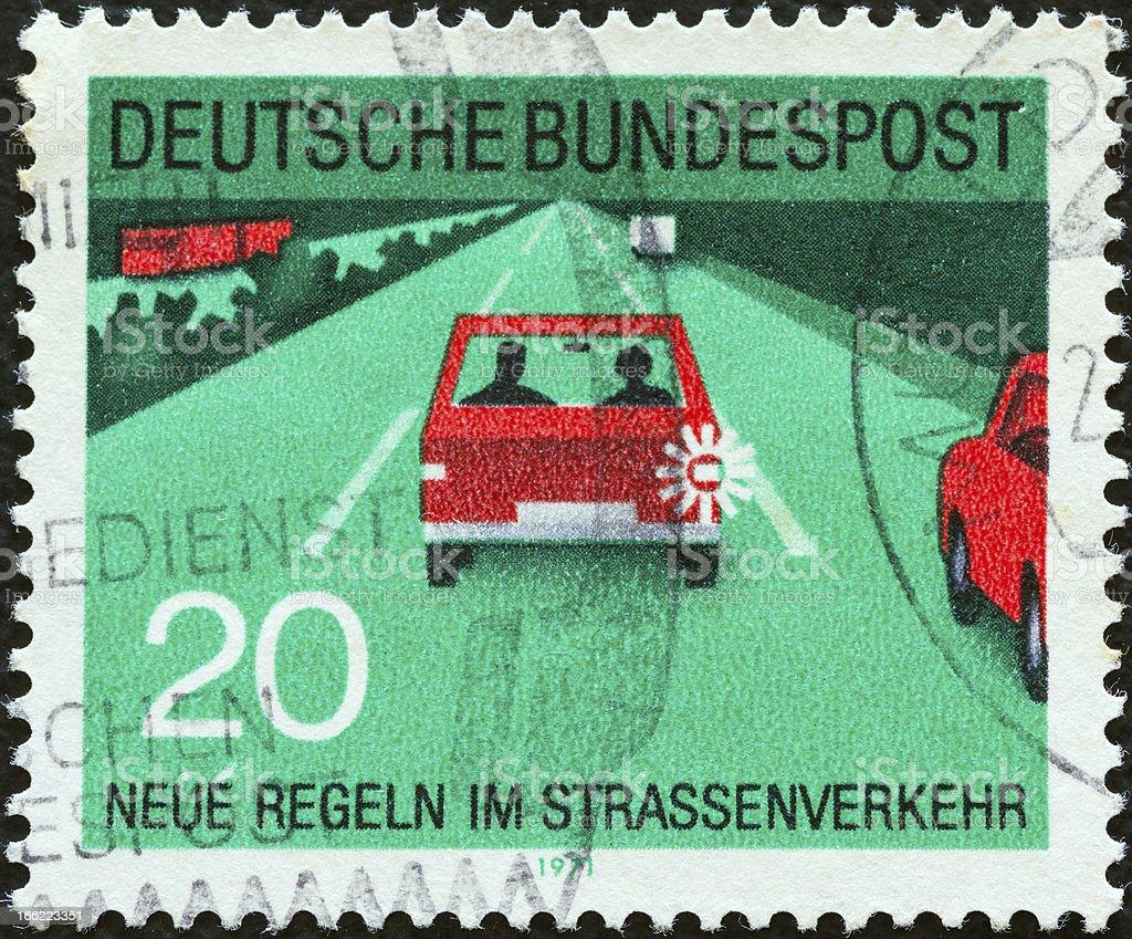 German stamp shows lane discipline (1971) stock photo