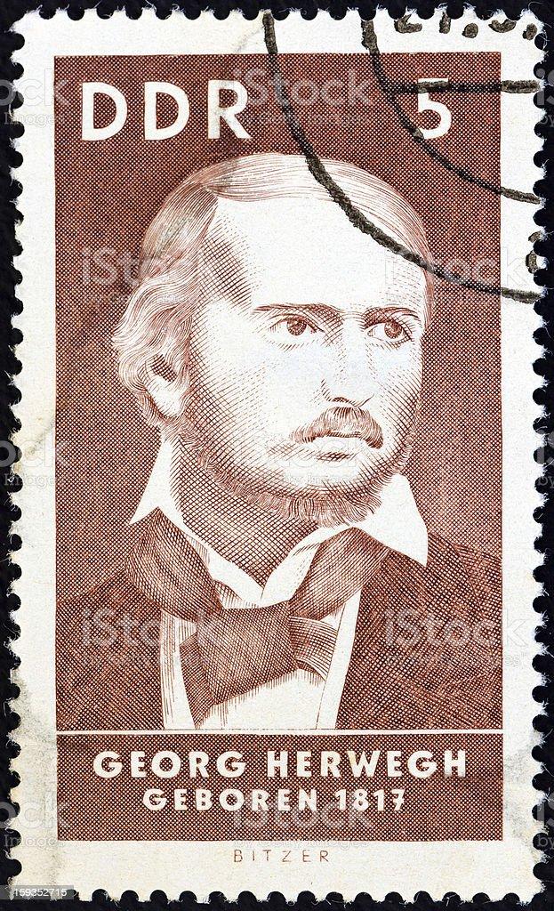 German stamp shows poet Georg Herwegh (1967) royalty-free stock photo