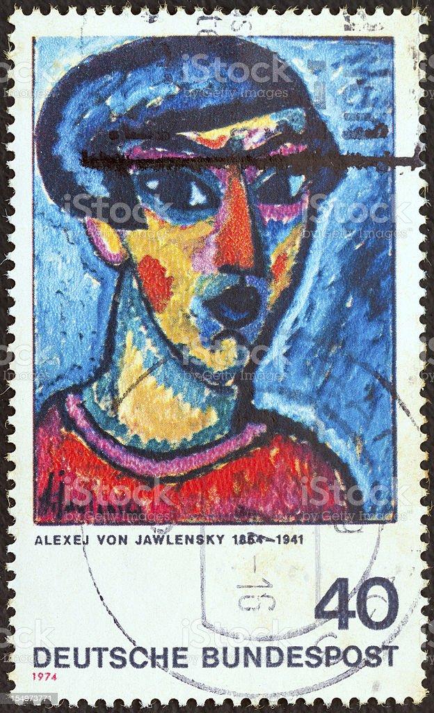 German stamp shows 'Portrait in Blue' (Alexej von Jawlensky) (1974) stock photo