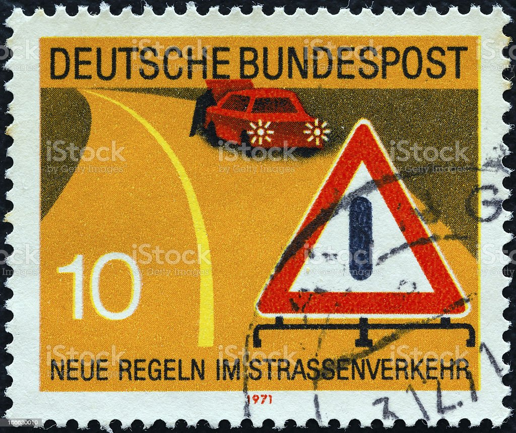 German stamp shows warning of obstruction sign (1971) stock photo